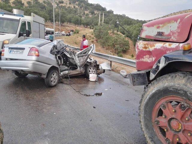 تصادف مرگبار پراید و کامیون با 5 کشته در محور باشت- گچساران